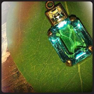 Aquamarine Blue & White Glass Crystal Pendant